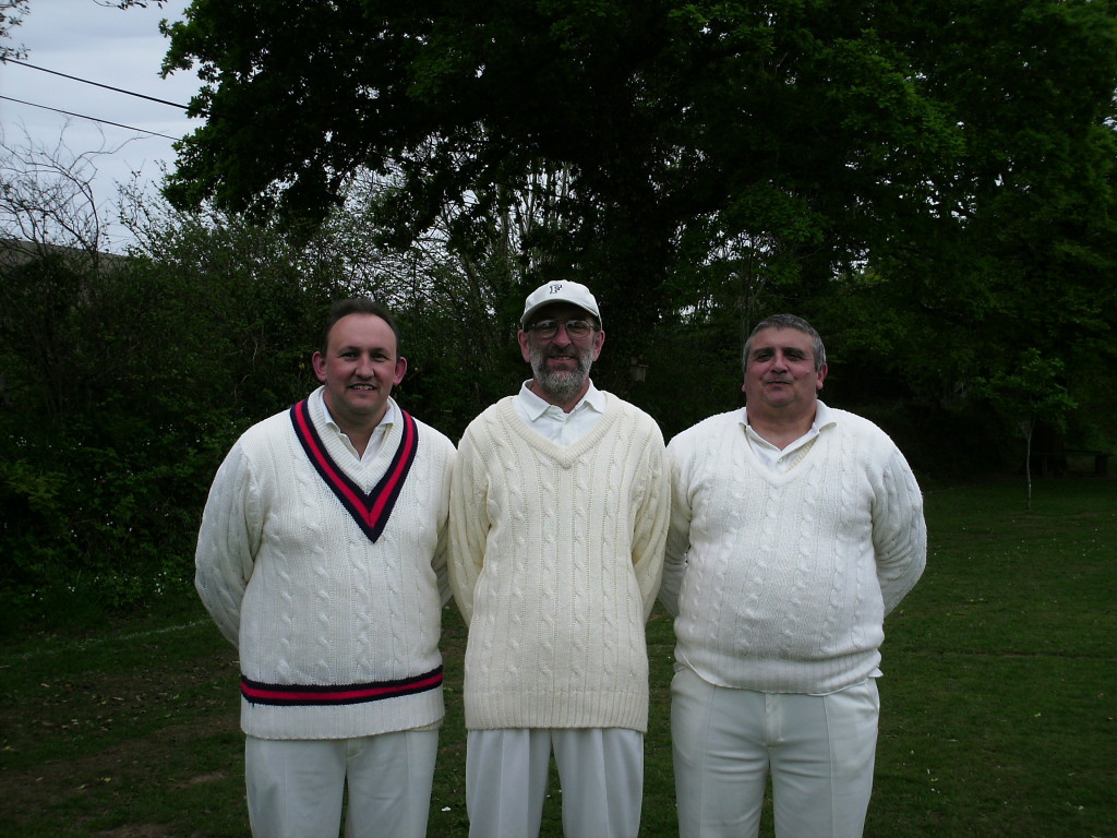 Steven Boyd, John Fearon and Martin Moore relaxing at tea after setting a club record score of 271-1